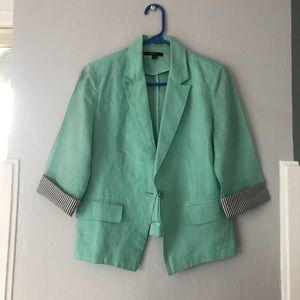 Papaya Half-sleeve linen blazer, seafoam green